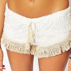 Surf Gypsy Crochet Trip Fringe Beach Shorts